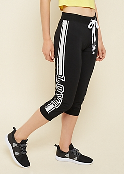 Black Varsity Stripe Love 1983 Cropped Sweatpants