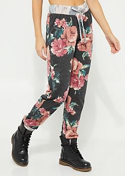 Black Floral Joggers