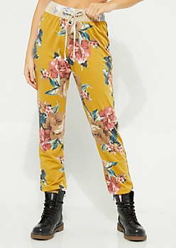 Mustard Floral Joggers