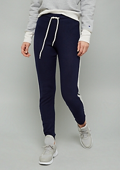 Navy Side Striped High Waisted Hacci Joggers