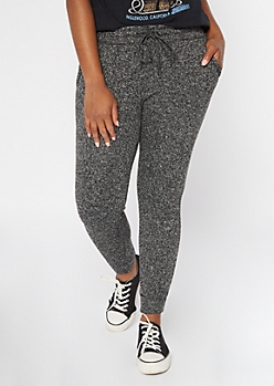 Black Marled Sweater Knit Joggers