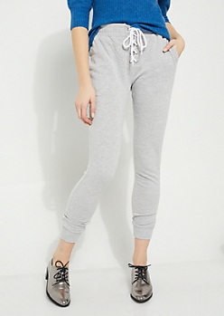 Gray Lace Up Waist Fleece Joggers