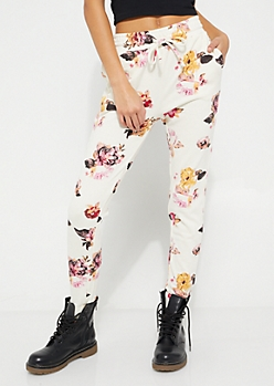 White Floral Knit Joggers
