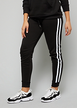 Black Side Striped Fleece Joggers