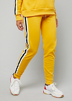 Mustard Side Striped Fleece Joggers