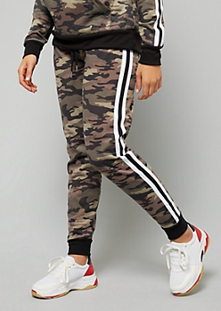 Camo Print Side Striped Fleece Joggers