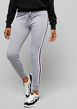 Heather Gray Athletic Tape Striped Joggers