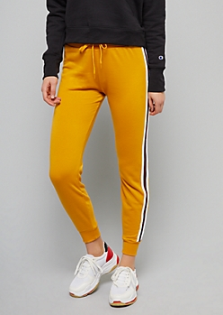 Mustard Yellow Side Striped Joggers