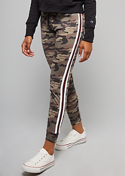 Camo Print Athletic Tape Striped Joggers