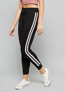 Black Side Striped High Waisted Joggers