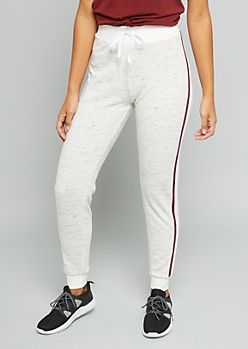 Heathered Oatmeal Side Striped Joggers