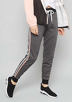 Charcoal Gray Side Striped Joggers