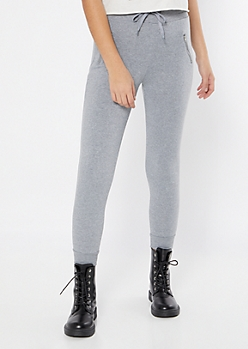 Gray Zipper Pocket Fleece Joggers