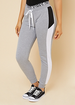 Heather Gray Colorblock Stripe Good Vibes Joggers
