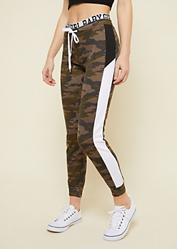 Camo Colorblock Stripe Baby Girl Joggers