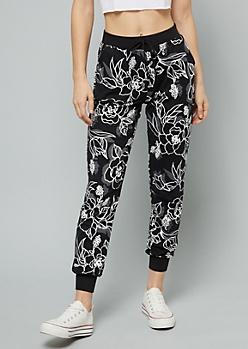 Black Floral Print Faux Drawstring Joggers