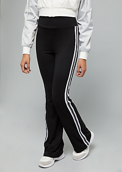 Black Side Striped High Waisted Flare Pants