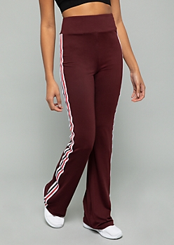 Burgundy Side Striped High Waisted Flare Pants
