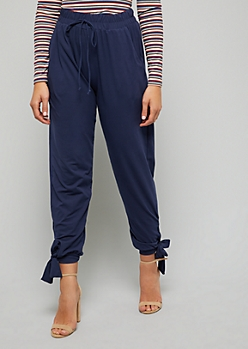Navy Bow Ankle Smocked Waist Joggers
