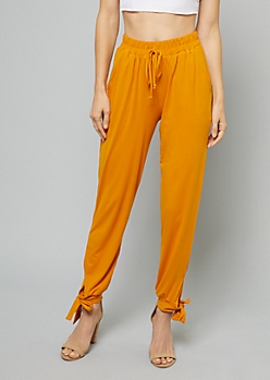 Orange Bow Ankle Smocked Waist Joggers