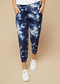 Blue Tie Dye High Waisted Cropped Joggers
