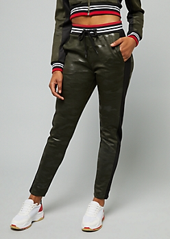 Red Fox Camo Print Side Striped Track Pants