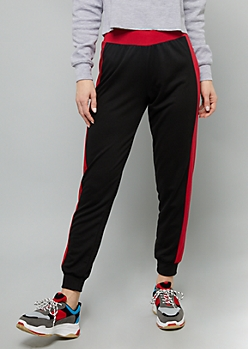 Black Colorblock Side Striped Mid Rise Joggers