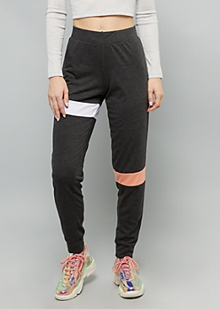 Gray Two Tone Striped Mid Rise Joggers