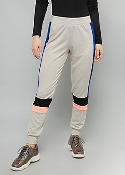 Oatmeal Colorblock Side Striped High Waisted Joggers