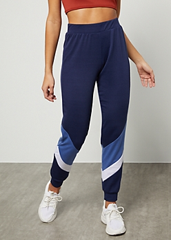 Navy Colorblock Diagonal Striped Mid Rise Joggers