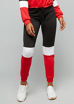 Red Colorblock High Waisted Joggers