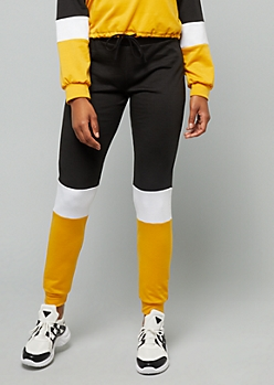 Mustard Colorblock High Waisted Joggers