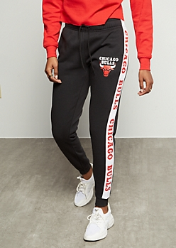 NBA Chicago Bulls Black Side Striped Graphic Joggers