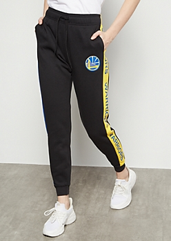NBA Golden State Warriors Black Side Striped Joggers