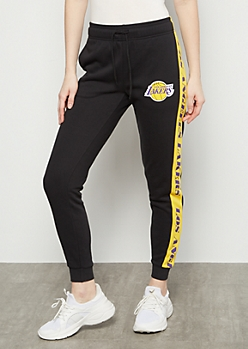 NBA Los Angeles Lakers Black Side Striped Joggers