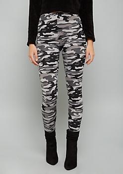 Black Camo Print Fleece Low Rise Leggings