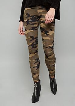 Camo Print Fleece Low Rise Leggings