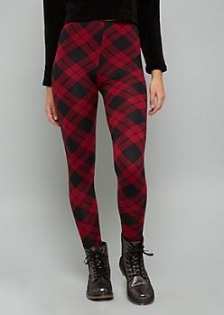 Burgundy Plaid Print Fleece Low Rise Leggings