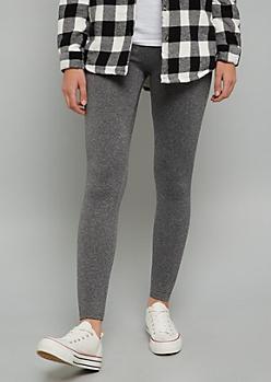 Gray Fleece Low Rise Leggings