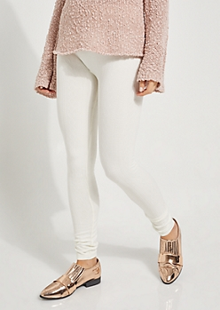 Ivory Cable Knit Fleece High Rise Leggings