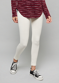 Ivory High Waisted Fleece Cable Knit Leggings