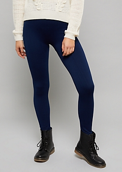 Navy High Waisted Fleece Cable Knit Leggings