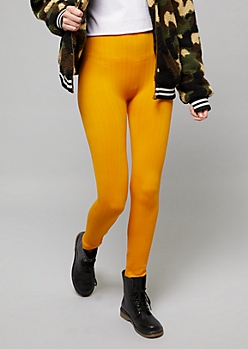 Yellow High Waisted Fleece Cable Knit Leggings