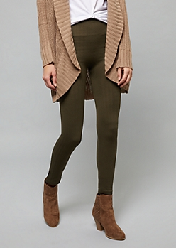 Olive High Waisted Fleece Cable Knit Leggings