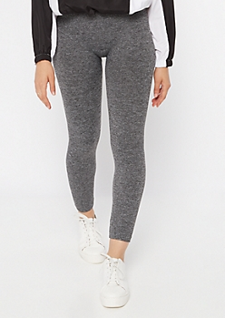 Gray Marled Seamless Faux Fur Leggings