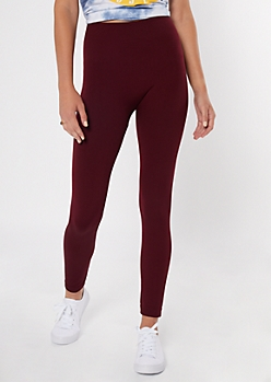 Burgundy Seamless Faux Fur Leggings