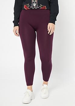 Purple High Waisted Fleece Leggings