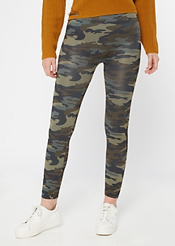 Camo Print Fleece Leggings