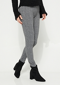 Heather Gray Cable Knit Fleece Lined Leggings