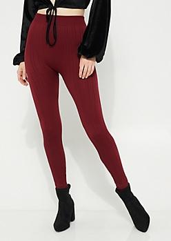 Burgundy Cable Knit Fleece Lined Leggings